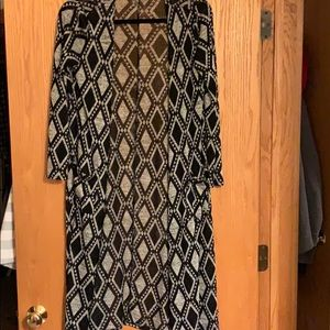 Lularoe Sarah Cardigan Blk/gray XS Like New